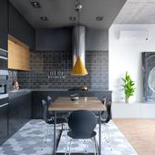 Kitchen in black tones