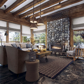 Log house interior