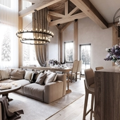 Design project for a country house in the style of a chalet