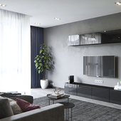 Gray living room+kitchen