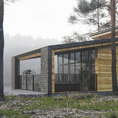 Individual house in forest
