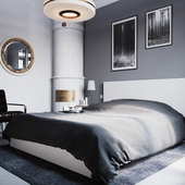 Пару ракурсов из спальной комнаты скандинавского дизайн проекта