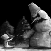 снеговик и ребенок