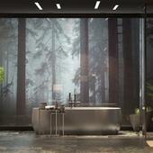 Ванная комната. Bathroom in the fog.