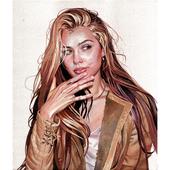 Golden Portrait. Watercolor.