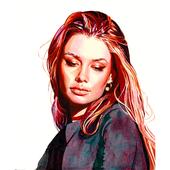 Pink Portrait. Watercolor.