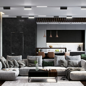 Рендер интерьера квартиры в современном стиле