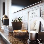 Modern light living room and deep green kitchen