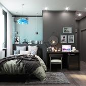 """Ikea"" style bedroom. Black edition"