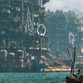 City on the water. Post-apocalypse