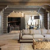 Гостиная, совмещенная с кухней в деревянном доме