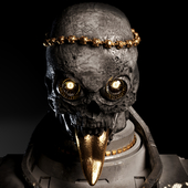 Gray skull with gold tongue