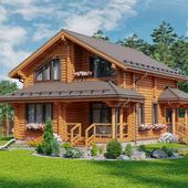 Деревянный дом общей площадью 171м2 из оцилинрованного бревна