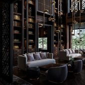 Renders by photos of Lobby Lounge Puli Hotel in Chengdu, China (сделано по референсу)