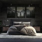 Dark bedroom.