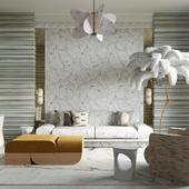 Визуализация гостиной с пальмой