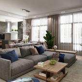 Квартира для холостяка | Кухня-гостиная