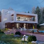 визуализация частного дома в современном стиле