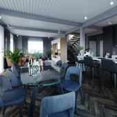Кухня-гостиная в доме из клееного бруса