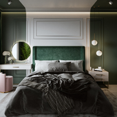bedroom in shades of green