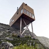 Дом-контейнер на скале (сделано по референсу)