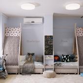 Дизайн/визуализация детской комнаты - вигвам-шалашики :))
