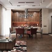 Interior visualization kitchen-living room