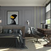 мужская спальня в стиле эклектика