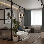 гостиная, совмещенная с прихожей в современном стиле
