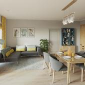 Светлая и уютная гостиная-кухня
