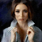 Портрет девушки с фото  из интернета