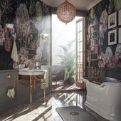 Ванная комната туманным утром.