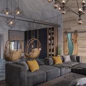 Огромная гостиная с элементами стиля лофт.