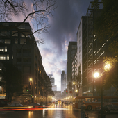 American street, night.