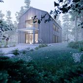 Уютный домик в сказочном лесу