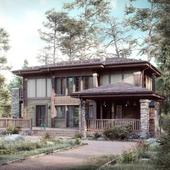 Каркасный дом в стиле Райта