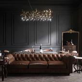 classic dark living room