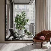 Дизайн и визуализация студии и балкона