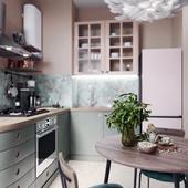 Kitchen in Pistachio & Beige pastel tones