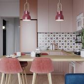 Яркая кухня-гостиная