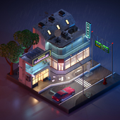 Isometric low poly cyberpunk city