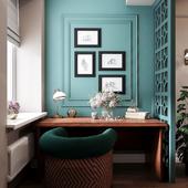 Визуализация кабинета с элементами существующей мебели заказчицы