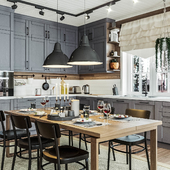 Кухня и гостиная в частном доме