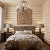 Интерьер гостевой спальни в доме из сруба