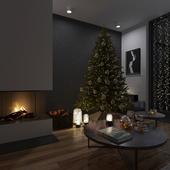 Гостинная с Рождественским настроением