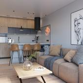 KITCHEN-LIVING ROOM & HALLWAY