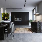 Dark Kitchen/Living room
