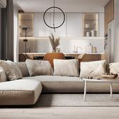 Living room + kitchen visualization
