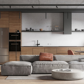 LOFT | Living room + kitchen visualization