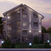 2х этажный жилой дом с мансардой